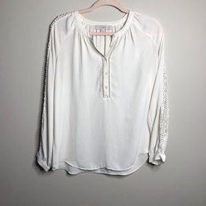 Ann Taylor Loft Soft White Pheasant Style Blouse